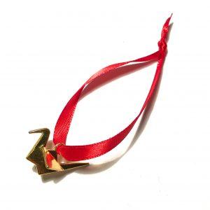 gull-fugl-origami-rød-juletrepynt-julepynt