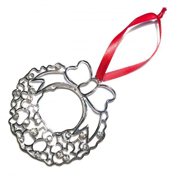 sølv-bling-ornament-krans-rød-juletrepynt-julepynt