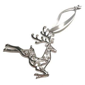 sølv-bling-grå-hjort-reinsdyr-juletrepynt-julepynt