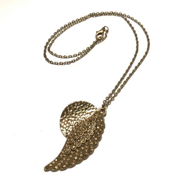 bronse-fjær-gull-bling-bohem-glitter-smykke-halskjede