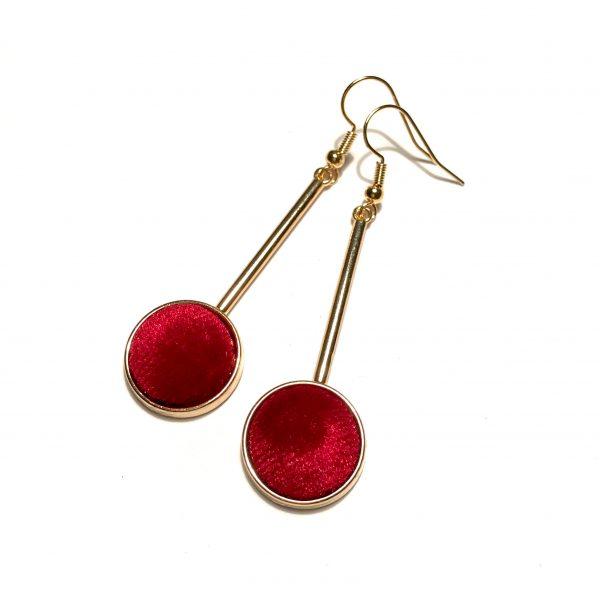 gull-velour-fløyel-rød-øreanheng-ørepynt
