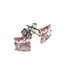 rosa-zirkonia-stål-øredobber-ørepynt