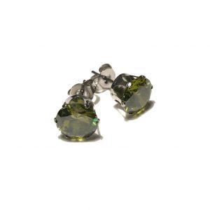 grønn-zirkonia-stål-øredobber-ørepynt