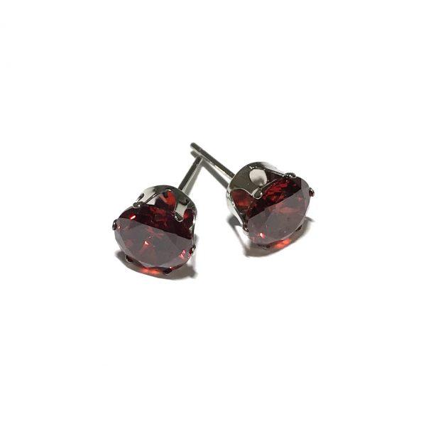 rød-zirkonia-stål-øredobber-ørepynt