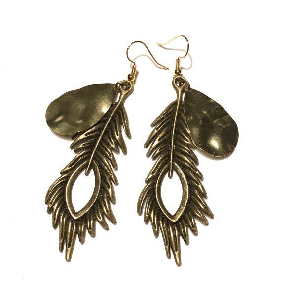 bohem-bronse-gull-fjær-øreanheng-ørepynt