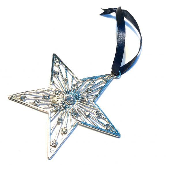 sølv-bling-stjerne-blå-juletrepynt-julepynt