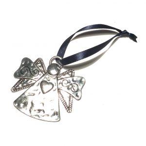 sølv-engel-hjerte-blå-juletrepynt-julepynt