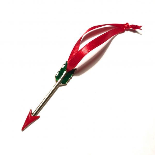 gull-rød-grønn-pil-juletrepynt-julepynt