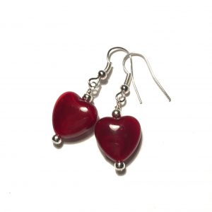 rød-hjerte-sølv-øreanheng-ørepynt
