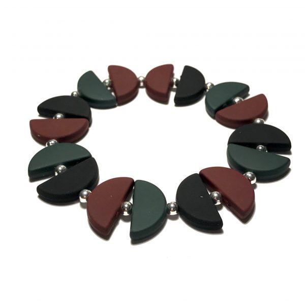 brun-grønn-sort-halvmånd-elastisk-armbånd
