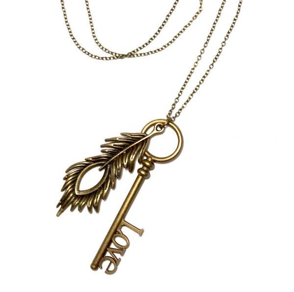 metall-fjær-love-nøkkel-smykke-halskjede