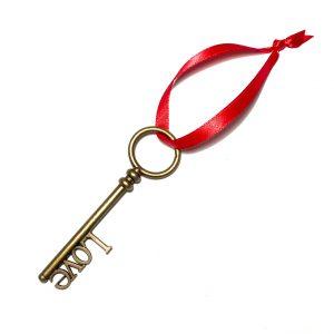 bronse-nøkkel-rød-juletrepynt-julepynt