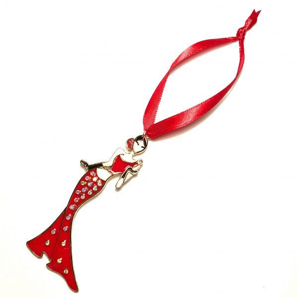 gull-spansk-rød-dame-juletrepynt-julepynt