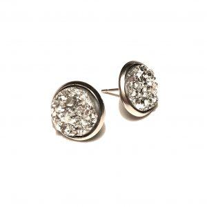 sølv-grå-glitter-stål-øredobber-ørepynt