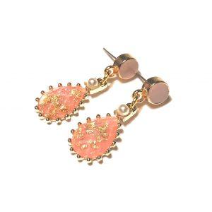 rosa-dråpe-gull-bohem-øreanheng-ørepynt