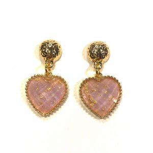 rosa-hjerte-gull-øreanheng-ørepynt