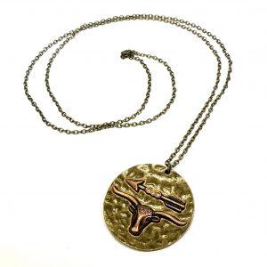 bronse-tyr-okse-pil-bohem-smykke-halskjede