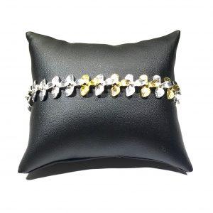 gull-sølv-orkide-blomst-armbånd