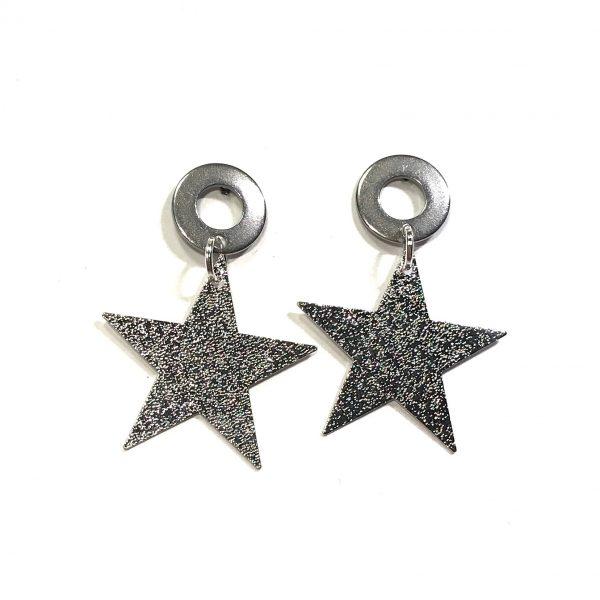 sølv-stjerne-stål-jul-øreanheng-ørepynt