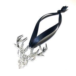 sølv-hjort-blå-juletrepynt-julepynt