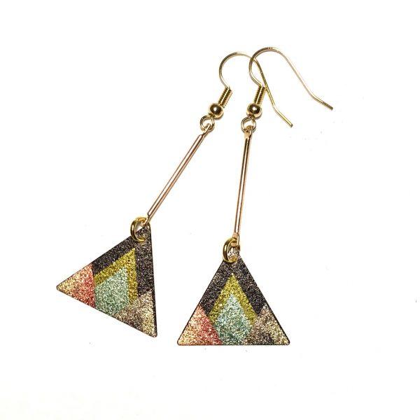 dort-grønn-geometrisk-gull-øreanheng