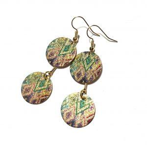 grønn-geometrisk-gull-øreanheng-ørepynt