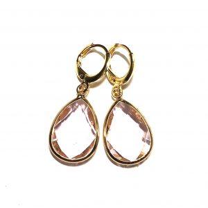 14K-gull-rosa-ørepynt-øreanheng-øredobber
