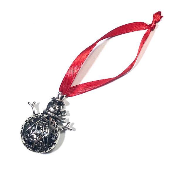 sølv-snømann-rød-juletrepynt-julepynt