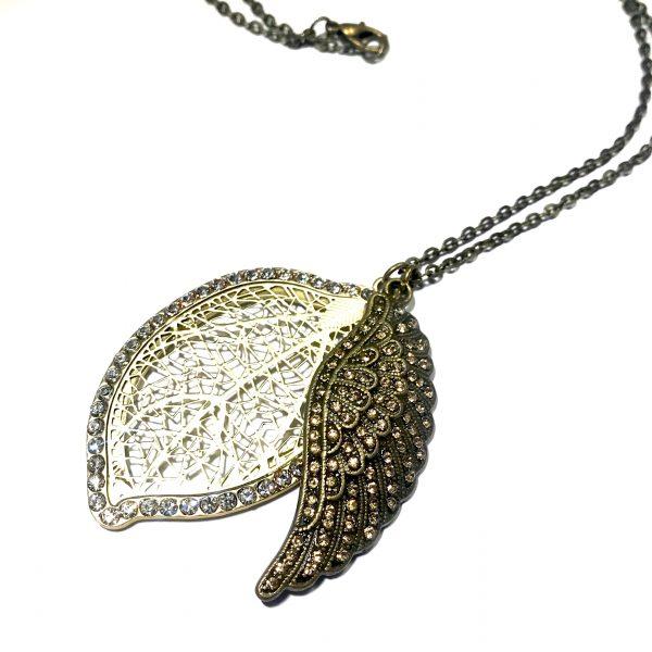 metall-fjær-blad-glitter-bronse-smykke-halskjede