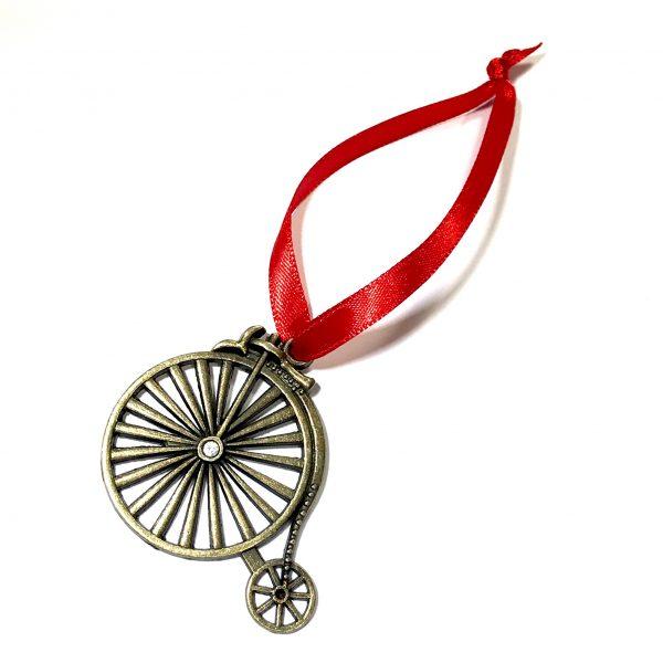 bronse-sykkel-rød-juletrepynt-julepynt
