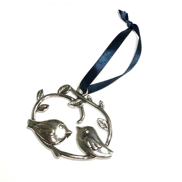sølv-turteldue-fugl-blå-juletrepynt-julepynt
