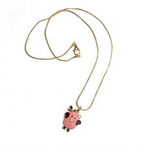 rosa-gull-fugl-barn-smykke-halskjede