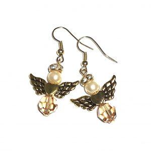 Lekre gyldne engler av swarovskikrystall.