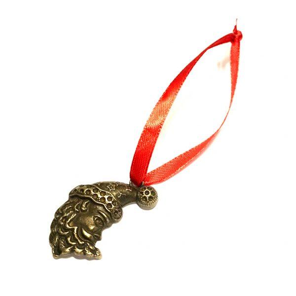bronse-julenisse-rød-juletrepynt-julepynt