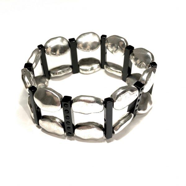 sort-sølv-tøff-armbånd