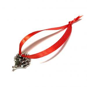 sølv-pinnsvin-rød-miniatyr-juletrepynt-julepynt
