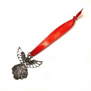 sølv-engel-rød-juletrepynt-julepynt