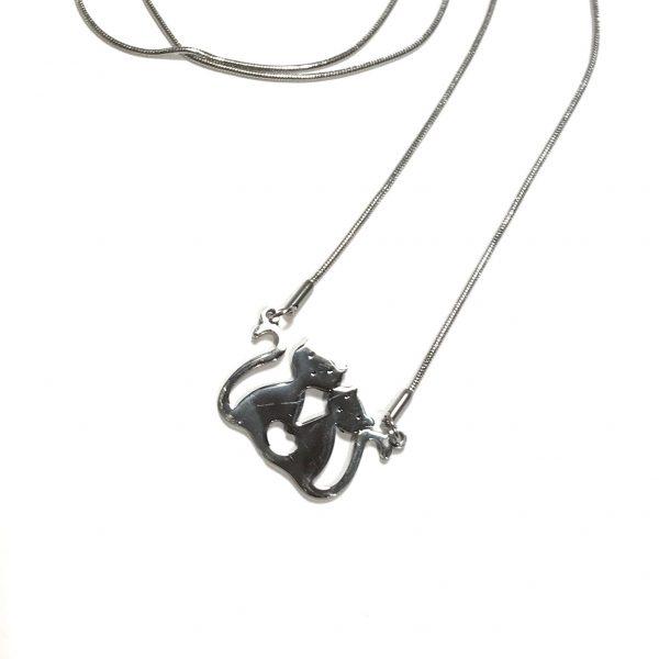 katt-pus-stål-smykke-halskjede