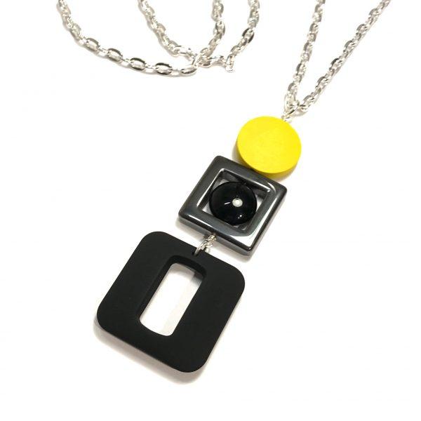 gul-sort-blodstein-smykke-halskjede