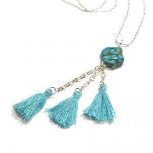 blå-turkis-howlit-dusk-tassel-smykke