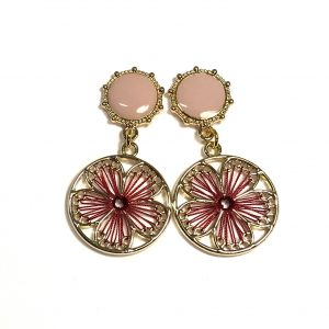 rosa-rød-bohem-wrap-ørepynt-øreanheng