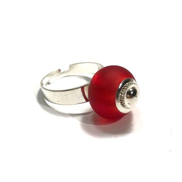 rød-glass-justerbar-onesize-ring