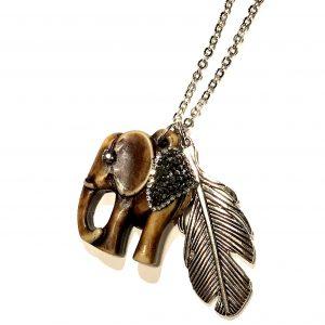 brun-elefant-metall-fjær-smykke-halskjede