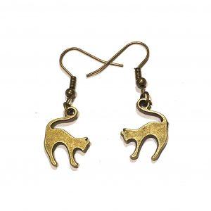 katt-pus-bronse-morsom-øreanheng-ørepynt