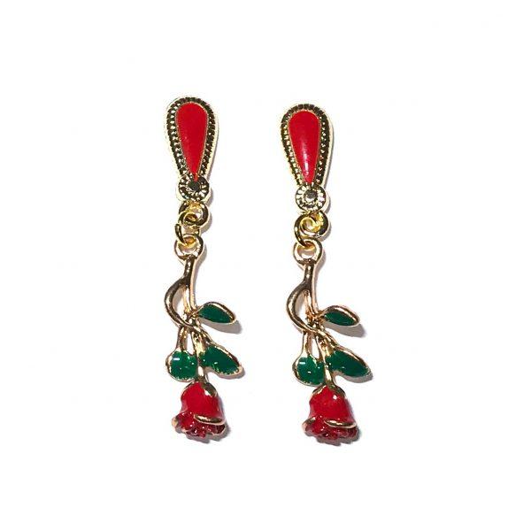 rød-rose-gull-øreanheng-ørepynt