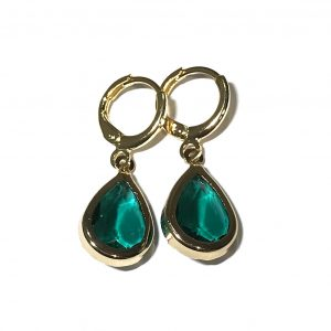 grønn-glass-dråpe-gull-ørepynt-øreanheng