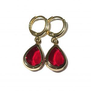rød-glass-dråpe-gull-ørepynt-øreanheng
