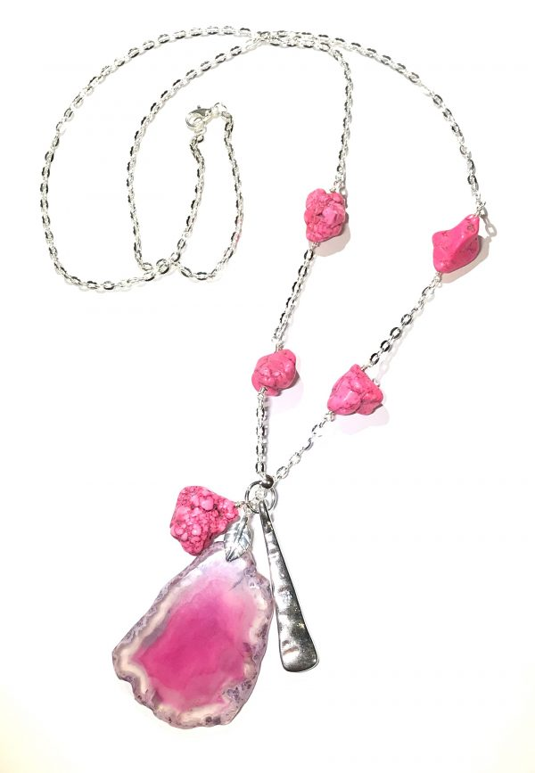 rosa-agat-howlit-smykke-halskjede