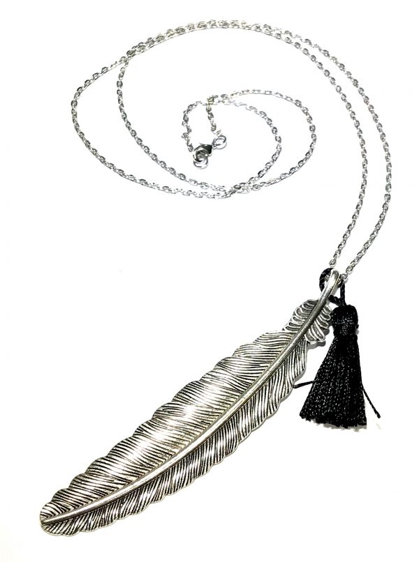 metall-fjær-dusk-bohem-smykke-halskjede