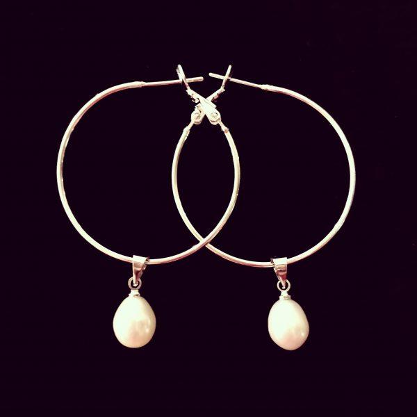 hvit-ferskvann-perle-øreringer-ørepynt